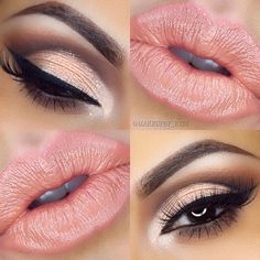 smokey eye & peach lips ~ we ❤ this! moncheribridals.com #weddingmakeup