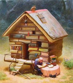This is where I imagine all my fellow book lovers will retire. I Love Books, Books To Read, My Books, Reading Books, World Of Books, Book Nooks, Book Nerd, Book Lovers, Fantasy Art
