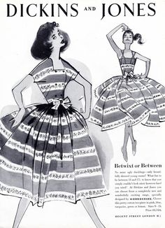 1957 Dickins and Jones - dresses designed by Horrockses