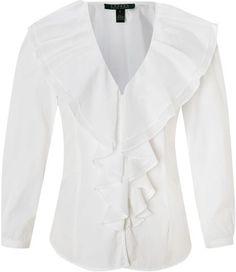 02da1e8d720f25 Shareen 34 Sleeve Ruffle Front Blouse - Lyst Ralph Lauren, Blouses, Ruffle  Blouse,