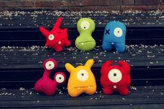 Colourful monster plushies handmade from felt. www.babua.com.au