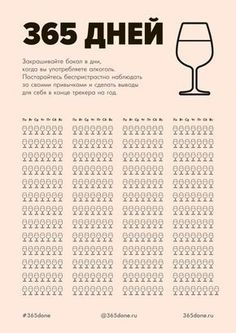 Закрашивайте бокал в дни, когда вы употребляете алкоголь. Постарайтесь беспристрастно наблюдать за своими привычками и сделать выводы для себя в конце трекера на год - #365done