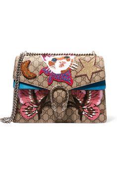 Gucci | Dionysus large appliquéd coated canvas and suede shoulder bag | NET-A-PORTER.COM
