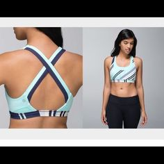Lululemon Run Stuff Your Bra II Excellent Condition. Cadet Stripe Aquamarine Blue. No trades. Use offer button to negotiate. If you want a bargain this listing is not for you. Sold out. lululemon athletica Tops