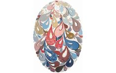 "Swirl Egg (orange/blue), 2011  @cynthiamosser.com  mixed media on birch panel, 16"" x 11""  sold"