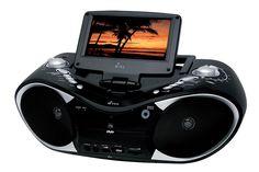 """GRABADORA CON DVD DVDY18  Pantalla de 7""""(17.8cm) Reproduce DVD, CD y MP3 Sintonizador de TV Entrada USB Entrada Auxiliar Entrada para SD Sintonizador de radio FM y AM Potencia Máxima 400 Watts"""