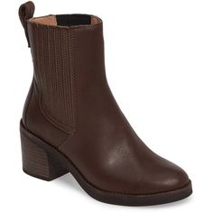 Women's Ugg Camden Chelsea Boot ($105) ❤ liked on Polyvore featuring shoes, boots, chocolate leather, leather block heel boots, stack boots, chelsea bootie, arch support shoes and ugg shoes