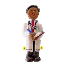 This doctor ornament is a great gift for your favorite doctor. It's always nice to receive a special thank you gift for wonderful care given. White Coat Ceremony, Personalized Ornaments, Medical School, Black Men, Graduation, Great Gifts, Resin, African, Nice