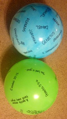 Bible Drill: Get the inexpensive balls from Walmart, write the books of the Bible on one and the verse prompts & references (separately) on the other. E is doing Bible Drill this year -- she'd love this! ~K