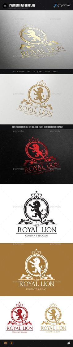 Royal Lion by LayerSky This logo design for all creative business. Consulting, Excellent logo,simple and unique concept. Logo Template FeaturesAI and EPS Business Logo Design, Creative Business, Create Logo Design, Lion Head Logo, Royal Logo, Photoshop Shapes, Crest Logo, Print Fonts, Initials Logo
