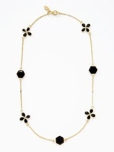 onyx hexagon and flower station necklace by soxiante neuf