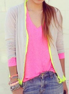 pretty hot pink v-neck tank, neon yellow-edged gray cardi, jeans, stacked bracelets