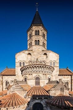 Chevet and bell tower of Notre Dame du Port church in Clermont Ferrand, France, by Arnaud Frich