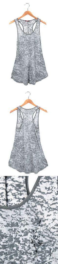 Women's Camo Flowy Racerback Tank Top Grey $16.99 #fashion #womenfashion #tanktop #racerback