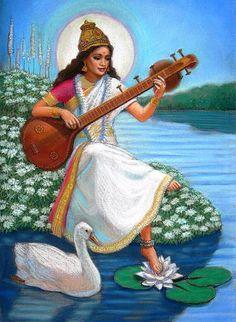 Items similar to Saraswati Hindu spiritual yoga meditation Goddess Art Painting original by Sue Halstenberg for Doreen Virtue on Etsy Indian Goddess, Goddess Art, Saraswati Goddess, Saraswati Mata, Original Paintings, Original Art, Spiritual Paintings, Mother Goddess, God Pictures