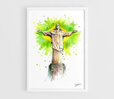 Statue of Christ the Redeemer in Rio de Janeiro, Brasil FIFA World Cup 2014 - A3 Art Prints of the Original Watercolors Paintings