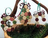 Ornements d'arbre de Noël fait avec des bouchons de vin, lot de 3 comprend un Mini arbre de couronne et Candy Cane