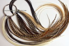 Bulk Feather Extensions Wholesale Hair Feathers Natural Real Rooster Feathers for Hair - 100 Pack 50 Beads 1 Threader Grizzly Brown etc by featherswholesale on Etsy