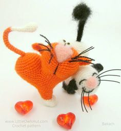 Cat heart ValentineCat Crochet pattern by Svetlana Pertseva LittleOwlsHut. 14 February Valentine's day gift.