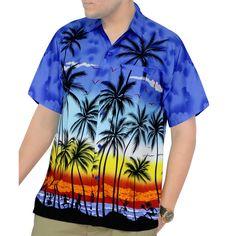 65cc4423 La Leela Men's Hawaiian Aloha Print Beach Short Sleeve Swim Camp Shirt Swim  Camp, Mens