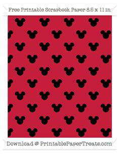 Free Cardinal Red Small Mickey Mouse Head Pattern Paper
