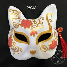 Half face Kitsune Mask - Full Blossom Kitsune Maske, Anbu Mask, Neko, Japanese Fox Mask, Naruto Merchandise, Fashion Model Drawing, Galaxy Nail Art, Mystic Eye, Cat Mask