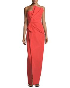 Strapless+Fan-Pleated+Column+Gown,+Fire+by+J.+Mendel+at+Neiman+Marcus.