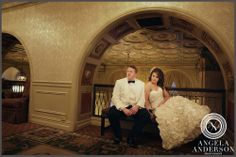 Wedding day portrait of bride and groom with photo by  Angela Anderson Photography in Louisville KY. Brown Hotel