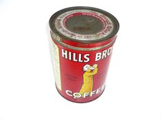 1930s Hills Bros Coffee Can with Lid Vintage by ChromaticWit, $19.99