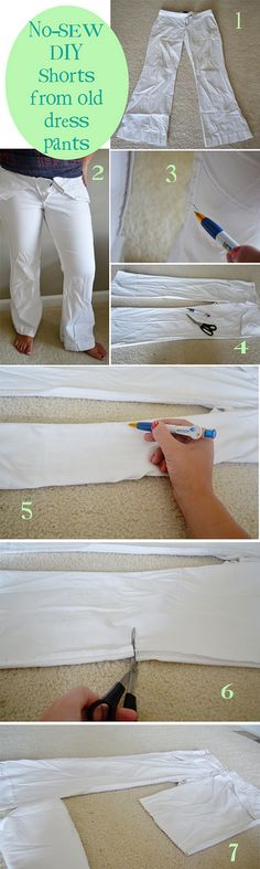 DIY no-sew shorts from old dress pants.  Easy picture tutorial from The Hollie Rogue blog.