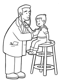 doctor checking up a child in community helper coloring pages for kids enjoy coloring - Coloring Child