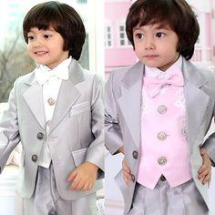Baby Little Big Boys Silver Gray Tuxedo Dress Suits Clothes 5 Piece SKU-132024