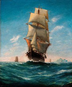 Artwork by Anton Otto Fischer, Ships at Sea, Made of Oil on canvas Sea Drawing, Old Sailing Ships, Song Of The Sea, Vintage Boats, Art Thou, Nautical Art, Ship Art, Model Ships, Tall Ships