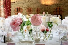 table wedding flowers decoration in thin glass vases over long flower decorations for wedding tables