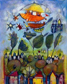 "Diane Culhane Boys In The Boat IV 16"" x 20"" acrylics on canvas www.dianeculhane.com"