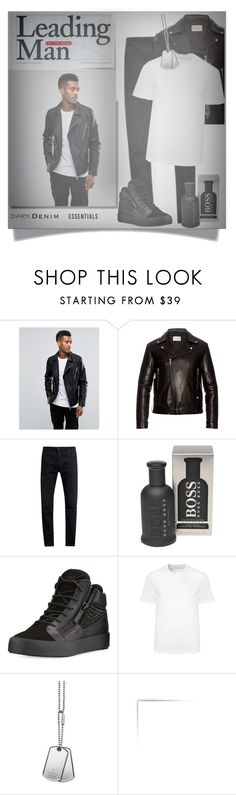 """Menswear Essentials: dark denim... #shirt #jacket #shoe #accessories #grooming #polyvore"" by fashionlibra84 ❤ liked on Polyvore featuring Jack & Jones, Gucci, Neuw denim, HUGO, Giuseppe Zanotti, Versace, men's fashion and menswear"