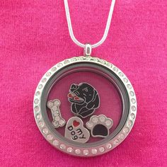 Black and Chocolate Labrador Retriever Floating Charm Locket Necklace - Circle with Crystals