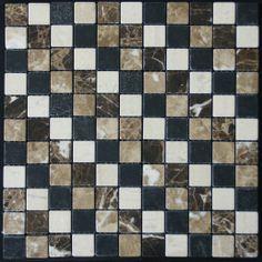 Mozaika marmurowa -  Kolekcja: Tetra 25 Coctail; Kod: TC2510; Wykończenie: ANTICO; Materiał: Ioannina Special, Emperador Light, Emperador Dark, Macedonian Black; Wym. Kostki: 2,5x2,5 cm; Wym. Plastra:  29,0x29,0 cm