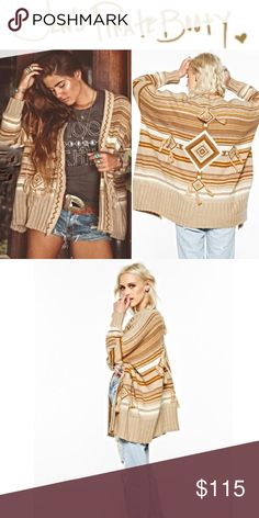 Jen's Pirate Booty Shaman Cardigan in Gold dust Brand new, never worn open cardigan like only JPB can. Soft & beautiful with fringe detailing on front pockets and back. Sold out everywhere! Wear it on a chilly summer night at the beach or a cold winter day! Jen's Pirate Booty Sweaters Cardigans