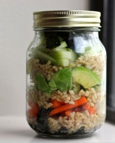 22. Deconstructed Sushi Jar #masonjar #recipes http://greatist.com/eat/mason-jar-recipes