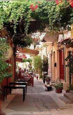 Quaint side street on the Isle of Crete, Greece