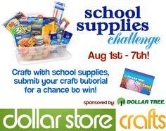 school supplies craft challenge - starts August 1st.