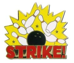 Strike! Lapel Pin by Bowling Delights. $4.95. Goldtone. Hit a Strike with this great goldtone and color enamel Lapel Pin!