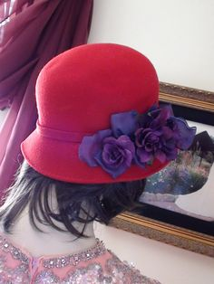 CLOCHE Lady in Red Vintage 1980's  Hat With by VINTAGEARTJEWELRY