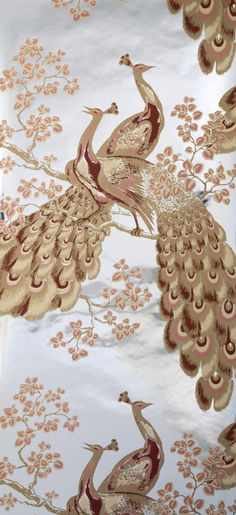 The image of the peacock is a cross-cultural symbol.  Broadhurst's trademark design, the peacock motif on silver foil Mylar, became a major characteristic of interior decoration in Australian middle-class homes in the sixties and seventies. .....'Peacock' wallpaper design, made by Florence Broadhurst Wallpapers, Sydney, 1969-1977, MAAS collection, 2002/77/1