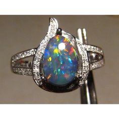 1.25ct Harlequin Black Opal & Diamond Ring 14k White Gold :... via Polyvore