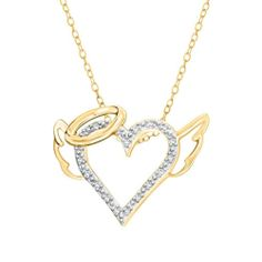 Natural Diamond Sterling Angle Heart Pendant w/ Chain For Mother's Day $1200 New