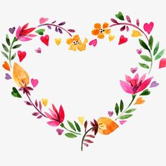 Valentine's day heart-shaped wreath PNG and Clipart Art Floral, Frame Floral, Flower Frame, Flower Art, Flower Ideas, Watercolor Flower Wreath, Watercolor Heart, Watercolor Cards, Easy Watercolor