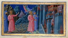 Dante and Virgil - Dante Alighieri Title	Divina Commedia Origin	Italy, N. (Tuscany, Siena?) Date	between 1444 and c. 1450 Language	Italian    http://www.bl.uk/catalogues/illuminatedmanuscripts/record.asp?MSID=6468&CollID=58&NStart=36