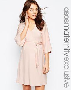Image 1 ofASOS Maternity Jersey Mini Dress with Obi Wrap Belt